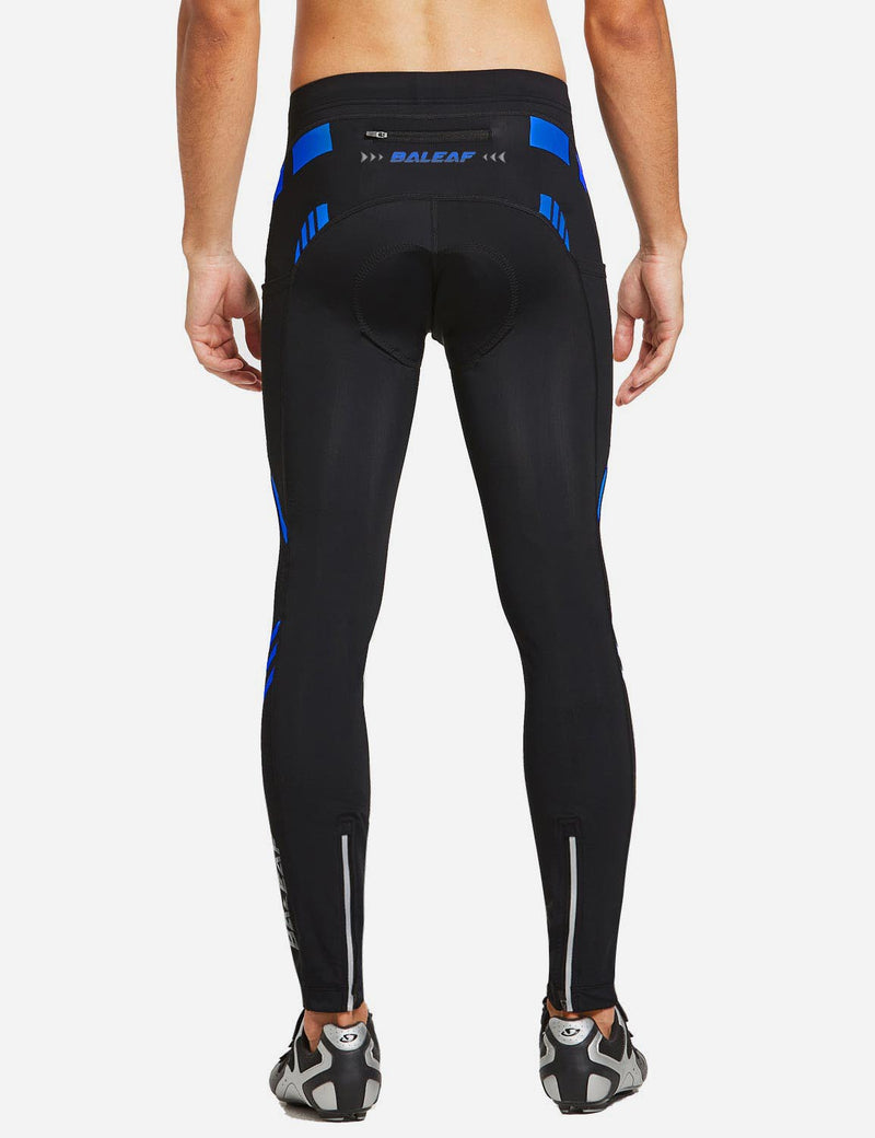 Baleaf Mens Outdoor Multifunctional Workout Compression Tights Blue back