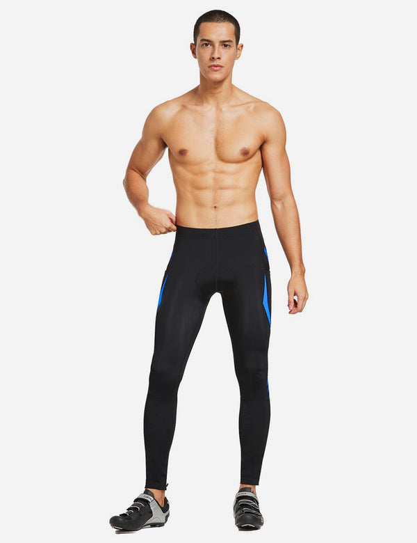 Baleaf Mens Outdoor Multifunctional Workout Compression Tights Blue full