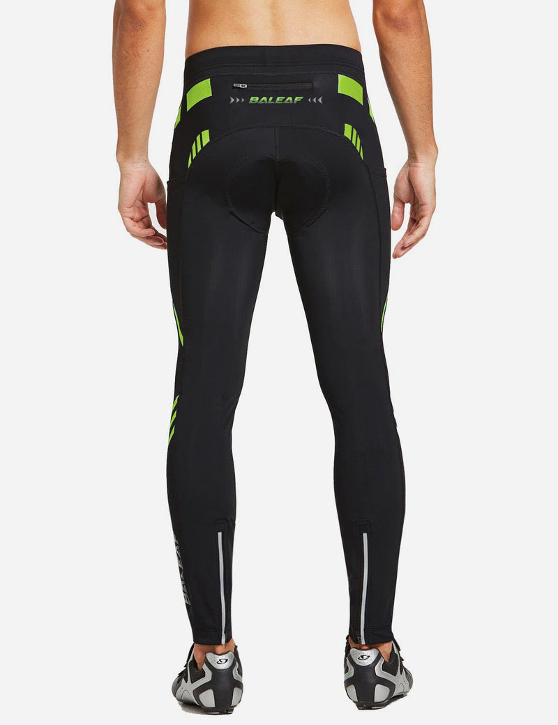 Baleaf Mens Outdoor Multifunctional Workout Compression Tights Green back