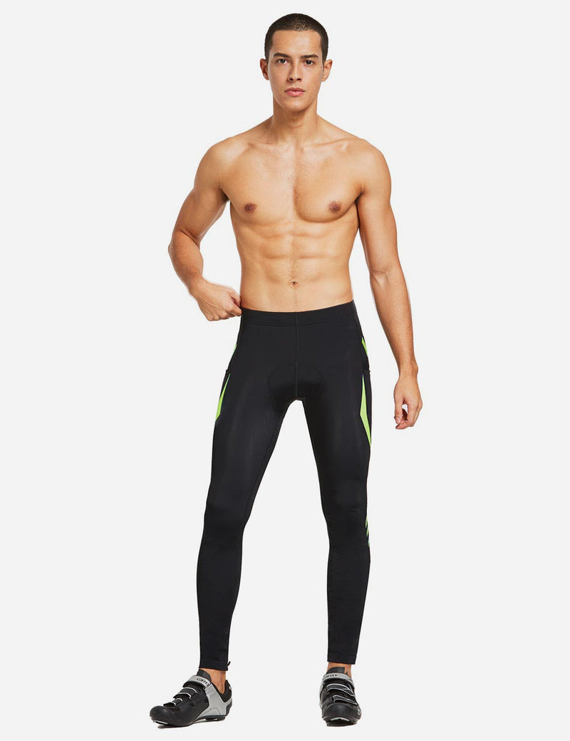 Baleaf Mens Outdoor Multifunctional Workout Compression Tights Green full