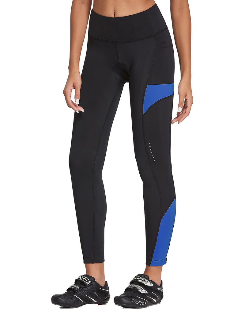 Baleaf Womens 3D Padded High Rise Leg Zipper Pocketed Cycling Pants Black Blue Front