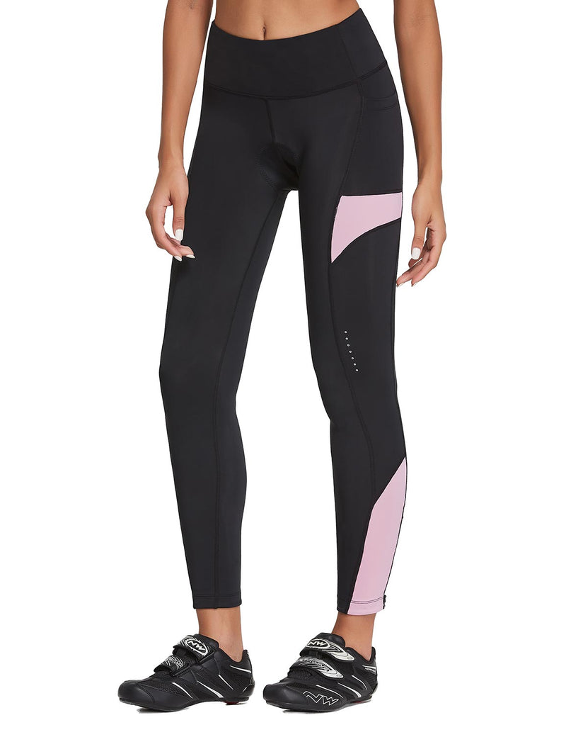 Baleaf Womens 3D Padded High Rise Leg Zipper Pocketed Cycling Pants Black Pink Front