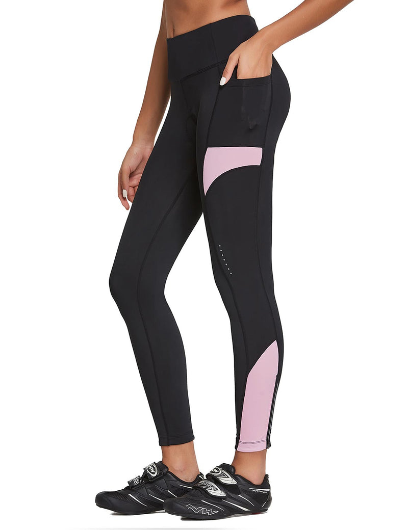 Baleaf Womens 3D Padded High Rise Leg Zipper Pocketed Cycling Pants Black Pink Side