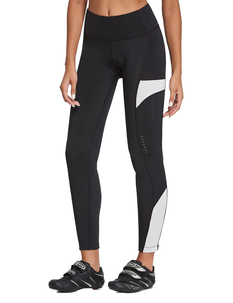 Baleaf Womens 3D Padded High Rise Leg Zipper Pocketed Cycling Pants Black White Front