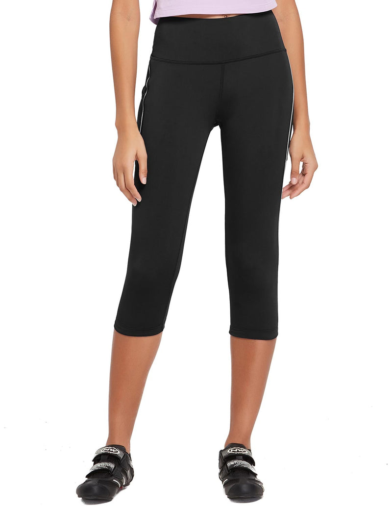 Baleaf Womens 20'' High Rise Compression Pocketed 3/4 Workout Capri Black Front