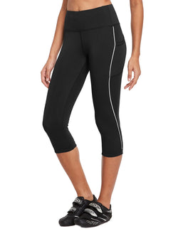 Baleaf Womens 20'' High Rise Compression Pocketed 3/4 Workout Capri Black Side