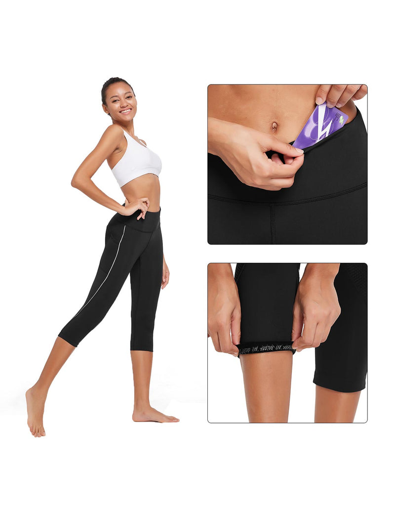 Baleaf Womens 20'' High Rise Compression Pocketed 3/4 Workout Capri Black Details