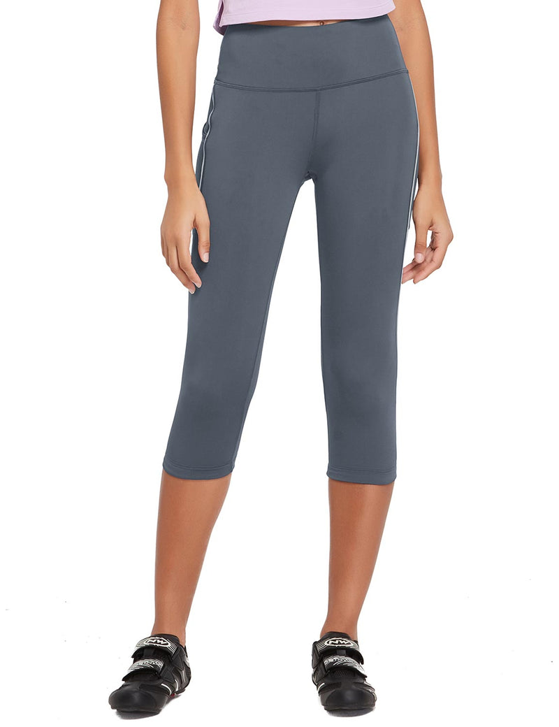Baleaf Womens 20'' High Rise Compression Pocketed 3/4 Workout Capri Gray Front