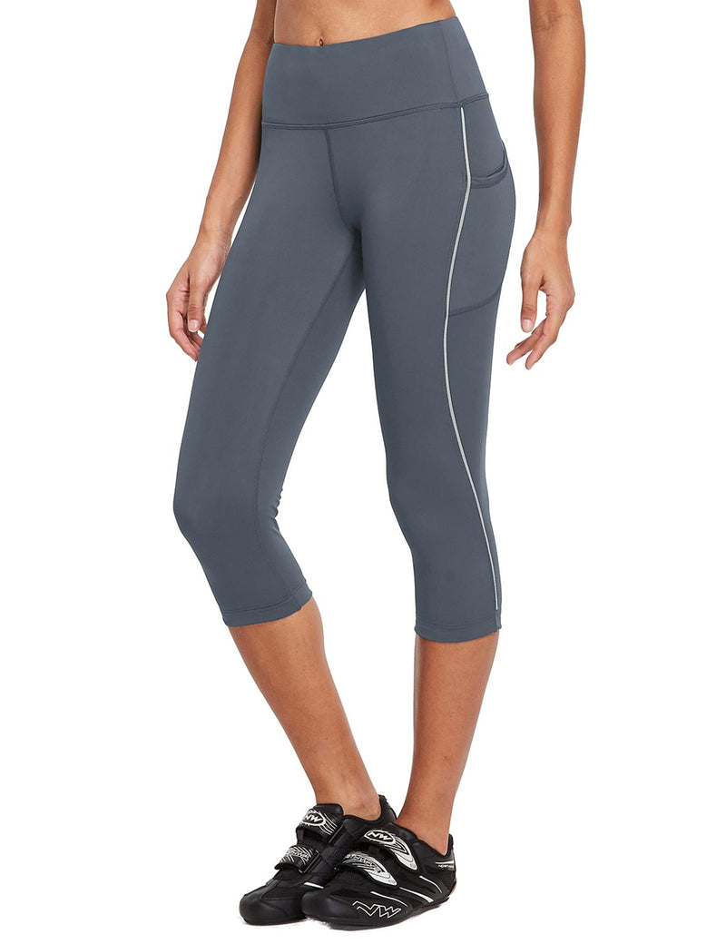 Baleaf Womens 20'' High Rise Compression Pocketed 3/4 Workout Capri Gray Side