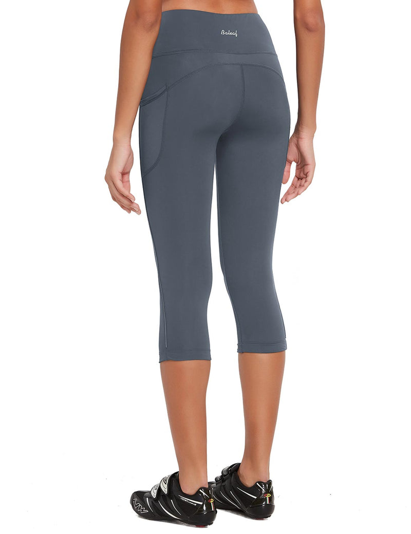 Baleaf Womens 20'' High Rise Compression Pocketed 3/4 Workout Capri Gray Back
