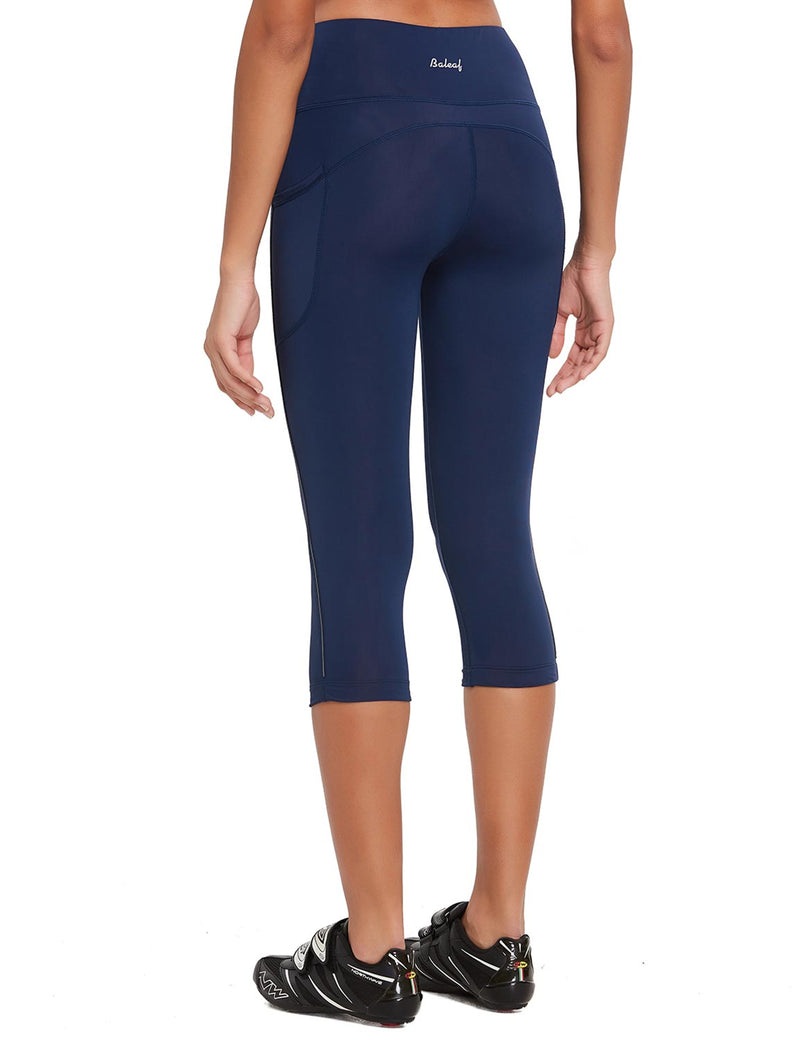 Baleaf Womens 20'' High Rise Compression Pocketed 3/4 Workout Capri Navy Back