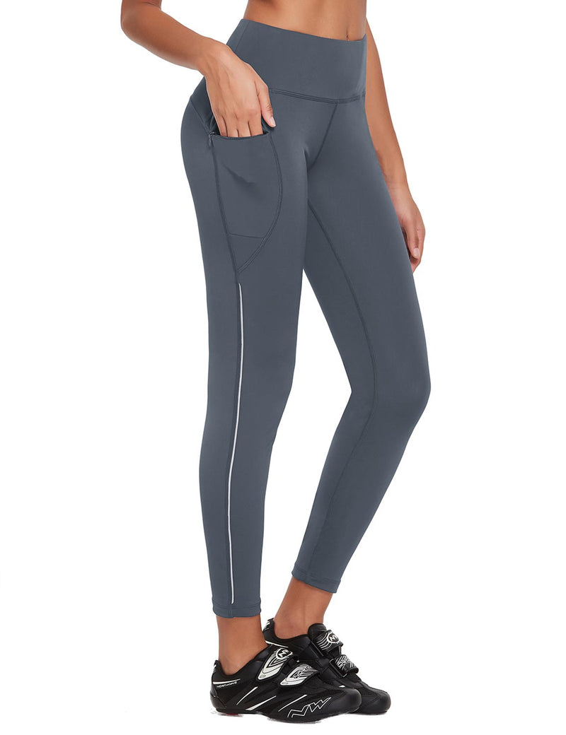 Baleaf Womens UPF 50+ High Rise Non-See-Through Pocketed Workout Compression 3/4 Capri Gray Side
