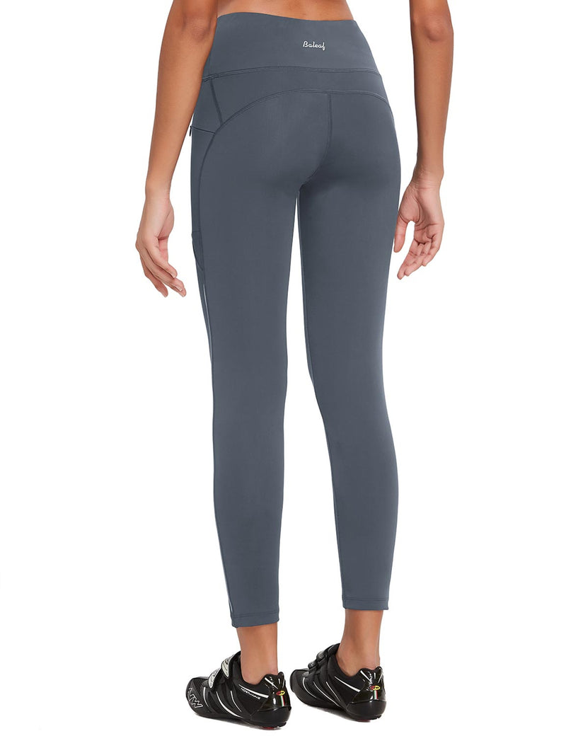 Baleaf Womens UPF 50+ High Rise Non-See-Through Pocketed Workout Compression 3/4 Capri Gray Back