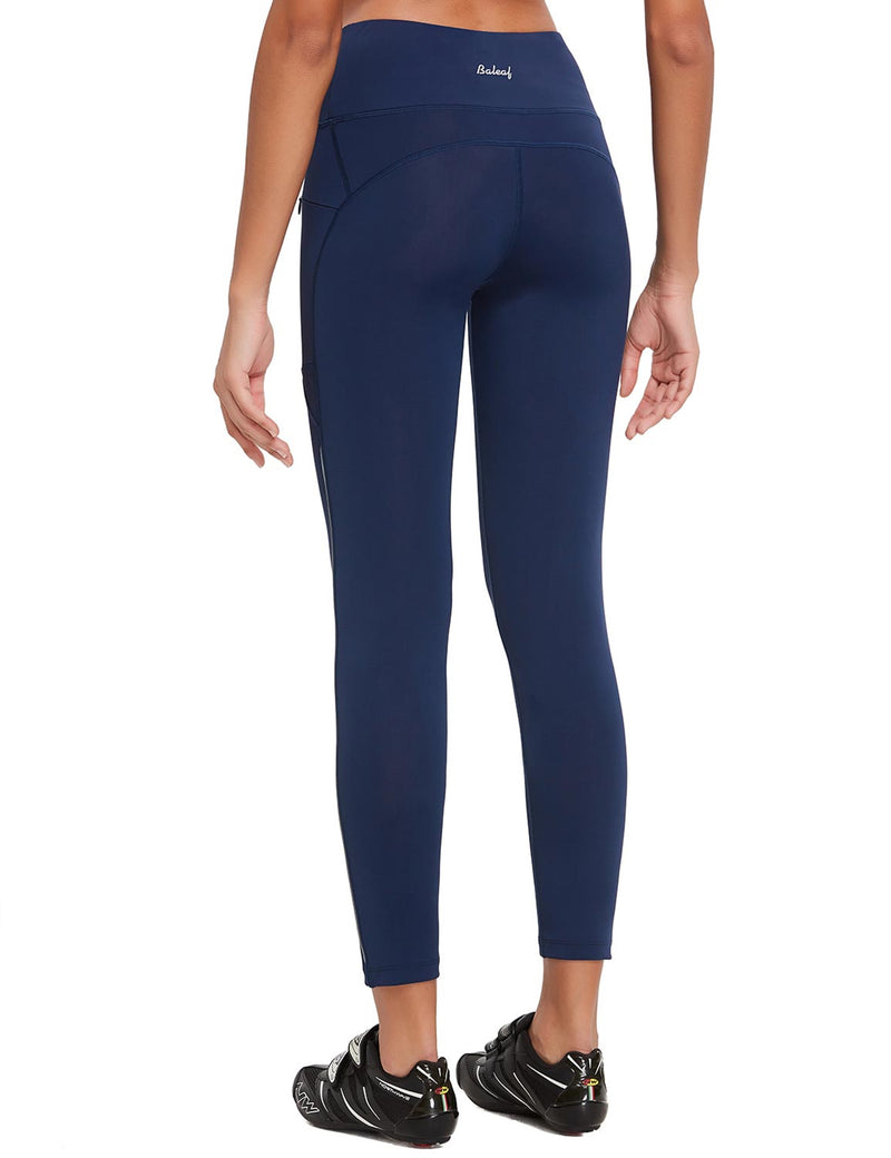 Baleaf Womens UPF 50+ High Rise Non-See-Through Pocketed Workout Compression 3/4 Capri Navy Blue Back