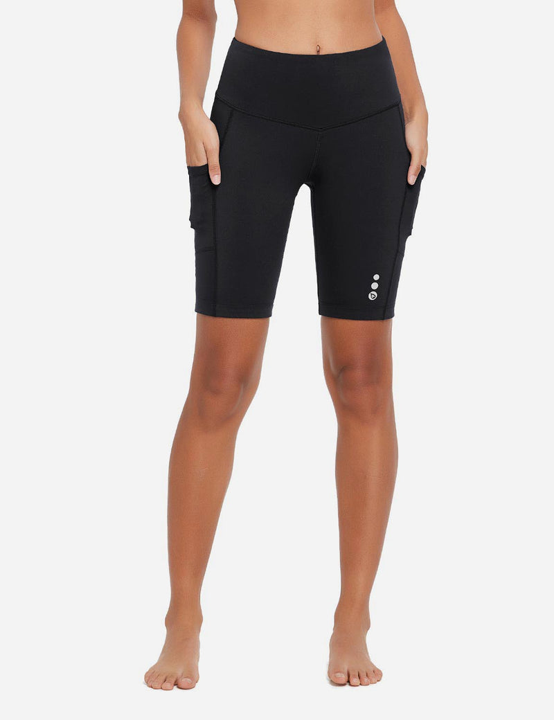 Baleaf Womens 9'' UPF 50+ High Rise Pocketed Compression Cycling Shorts Black Front