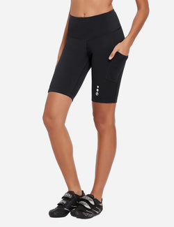 Baleaf Womens 9'' UPF 50+ High Rise Pocketed Compression Cycling Shorts Black Side