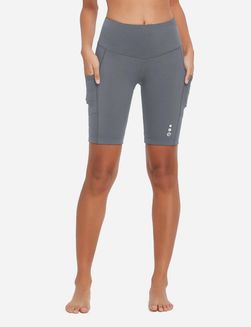 Baleaf Womens 9'' UPF 50+ High Rise Pocketed Compression Cycling Shorts Gray Front