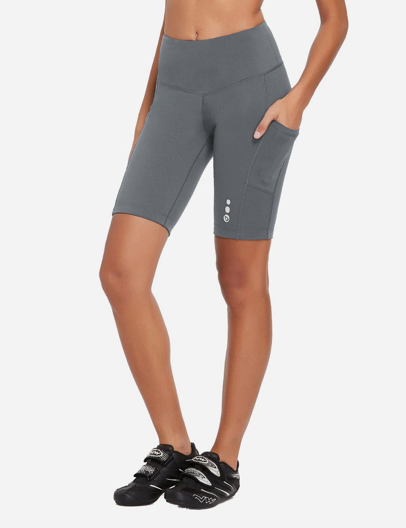 Baleaf Womens 9'' UPF 50+ High Rise Pocketed Compression Cycling Shorts Gray Side