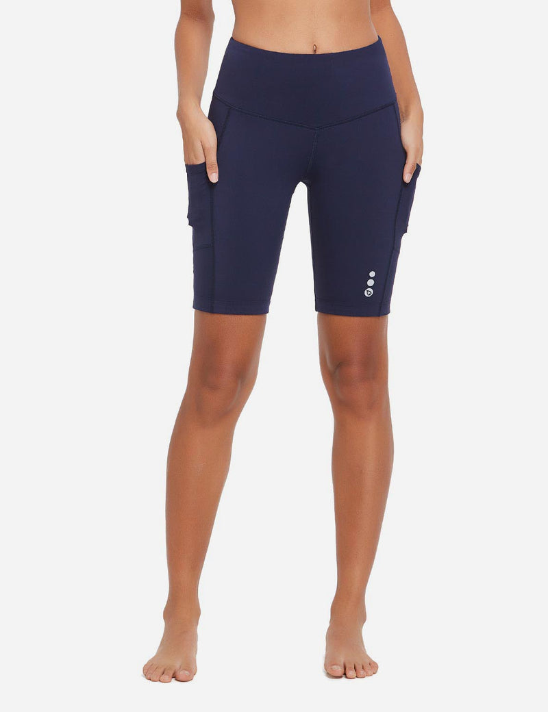Baleaf Women 9'' UPF 50+ High Rise Pocketed Compression Cycling Shorts Navy Blue Front