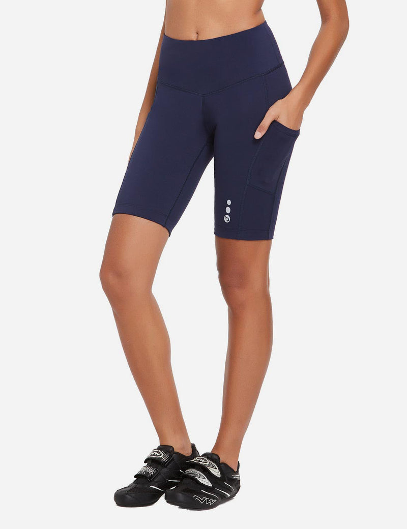 Baleaf Women 9'' UPF 50+ High Rise Pocketed Compression Cycling Shorts Navy Blue Side