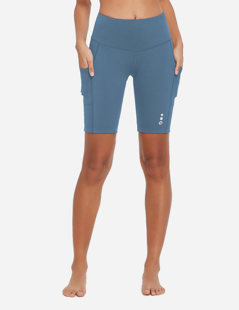 Baleaf Women 9'' UPF 50+ High Rise Pocketed Compression Cycling Shorts Niagara Front