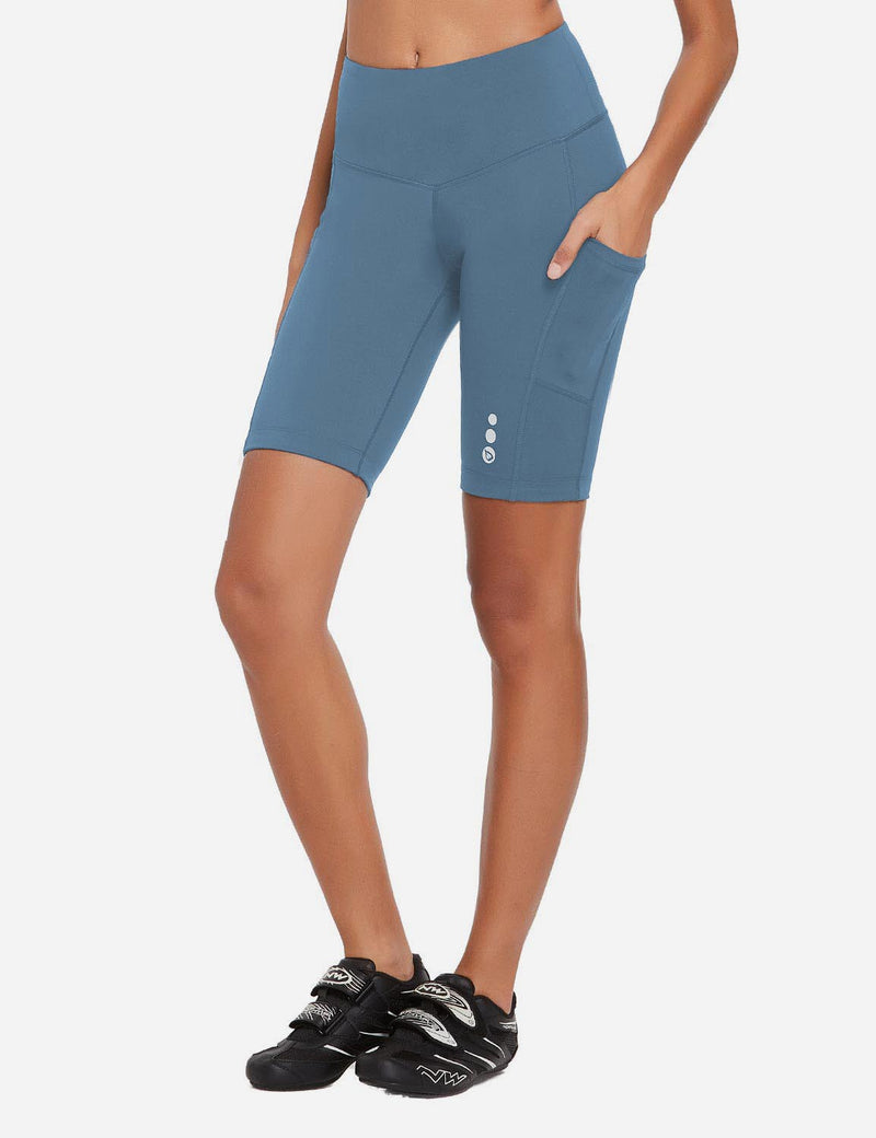 Baleaf Women 9'' UPF 50+ High Rise Pocketed Compression Cycling Shorts Niagara Side