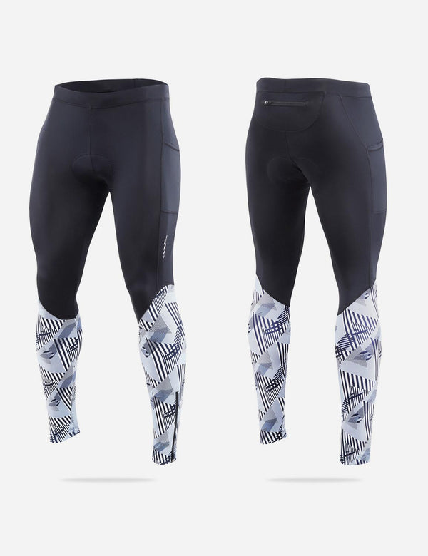 Baleaf Men UPF 50+ 4D Chamois Padded Digital Printed Pocketed Cycling Tights White Front