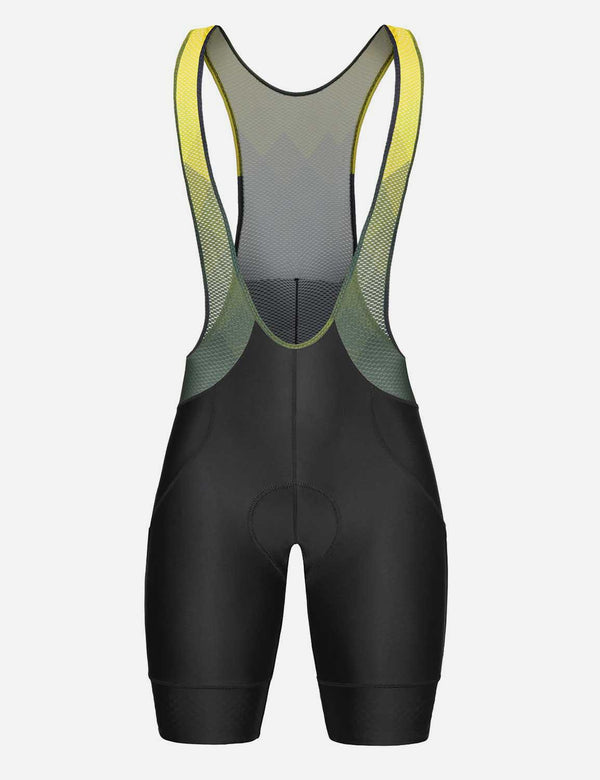 Baleaf Men's 5'' 4D Chamois Padded Mesh Panels Cycling Bib Shorts Black/Yellow Front