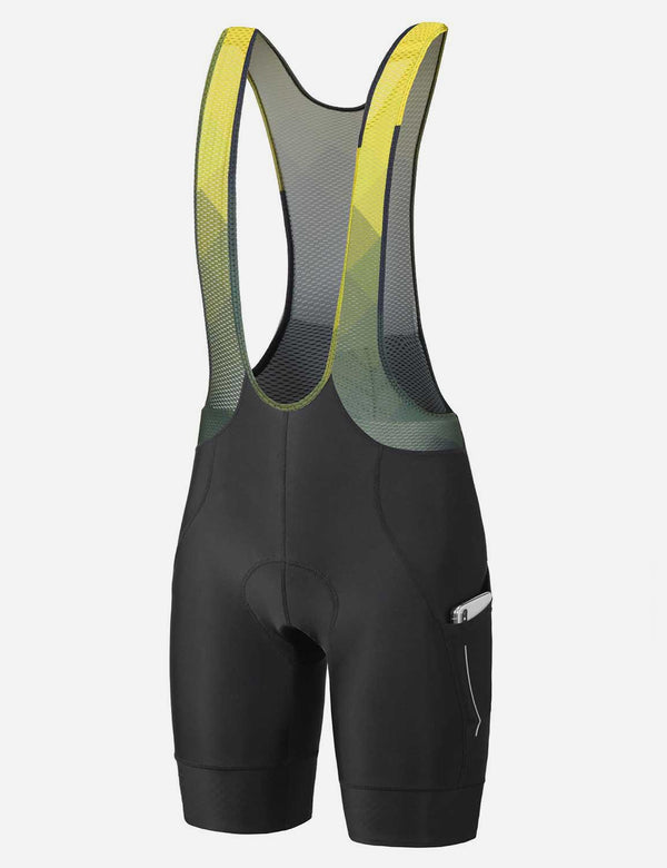 Baleaf Men's 5'' 4D Chamois Padded Mesh Panels Cycling Bib Shorts Black/Yellow Side