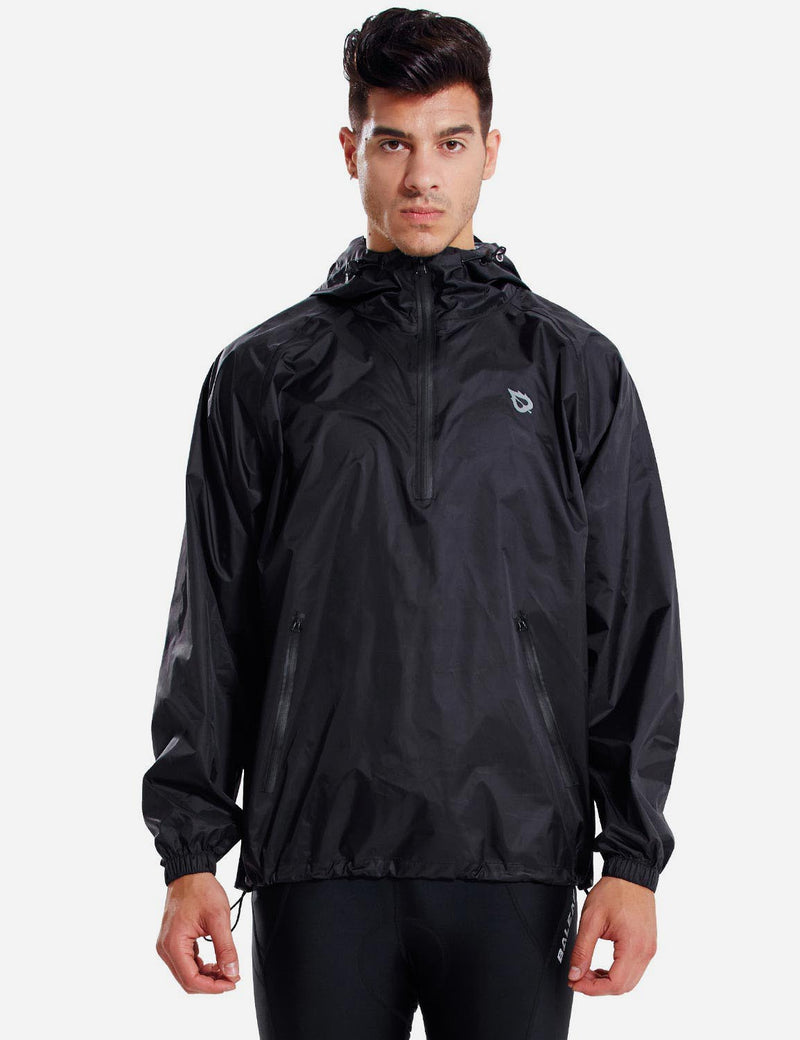 Baleaf Mens Lightweight Packable Hooded Raincoat black front