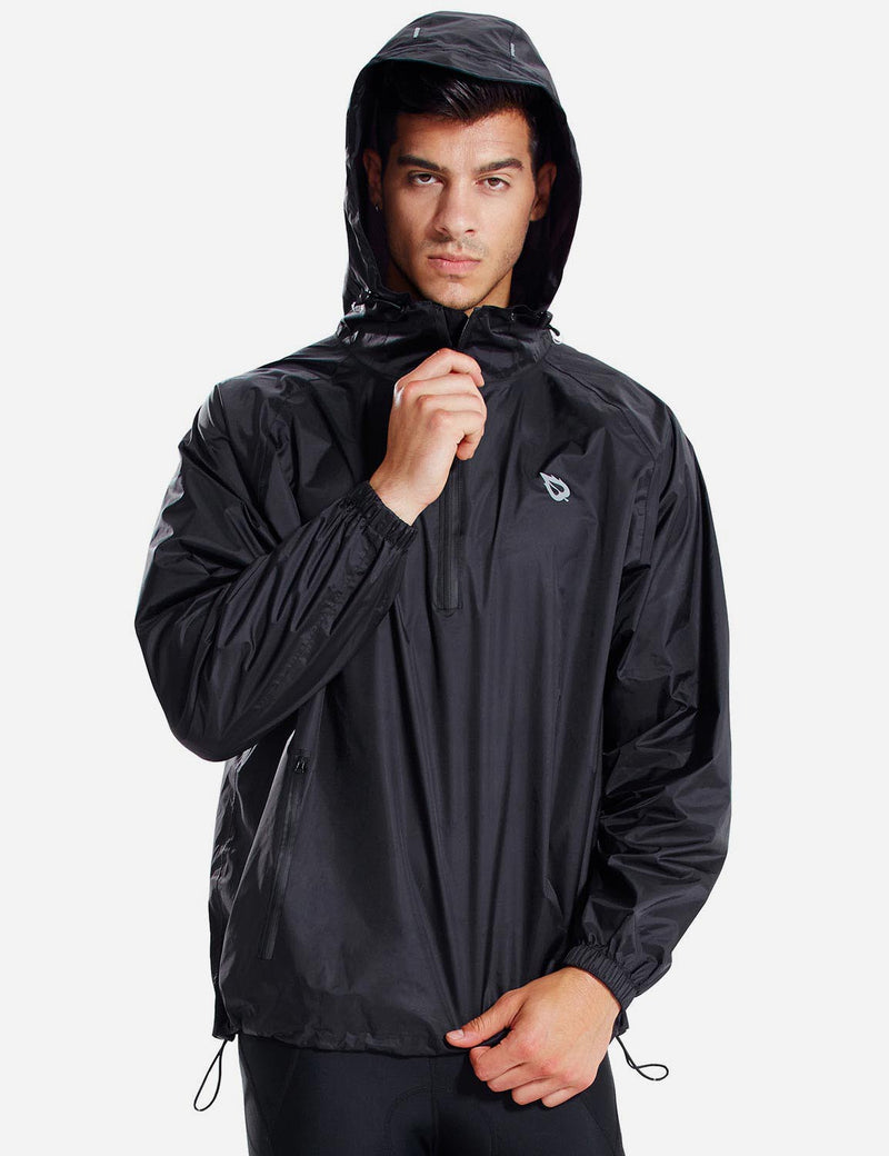 Baleaf Men Lightweight Packable Hooded Raincoat black front