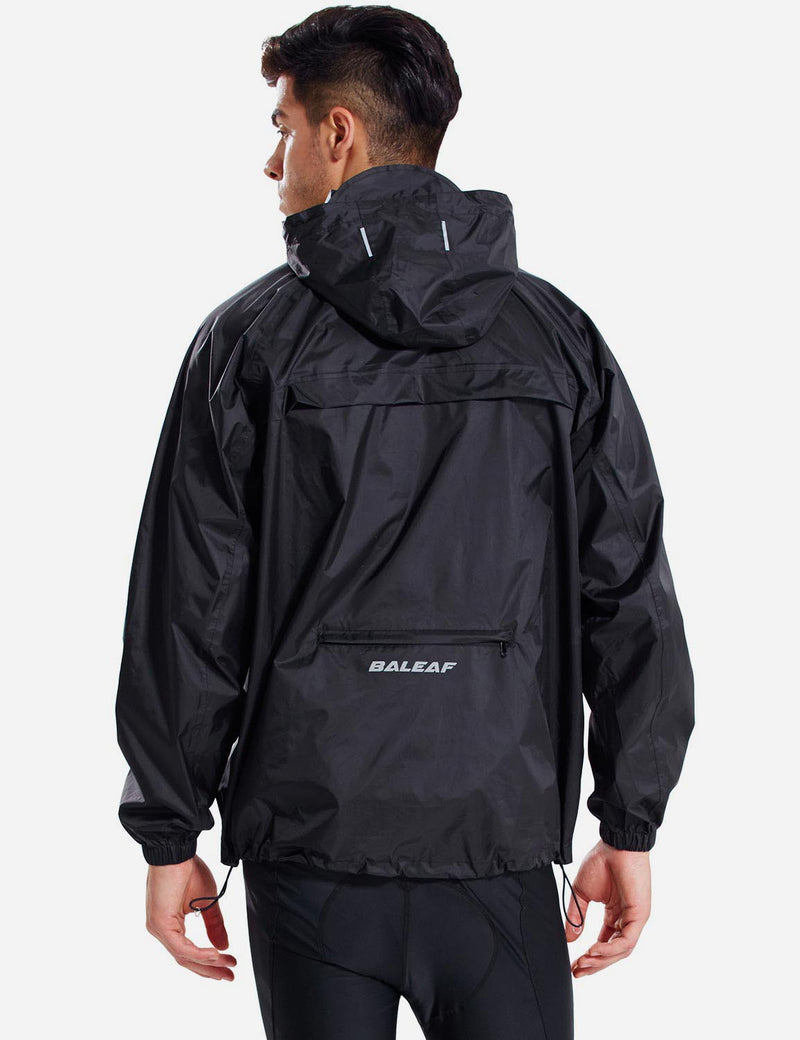 Baleaf Men Lightweight Packable Hooded Raincoat black back