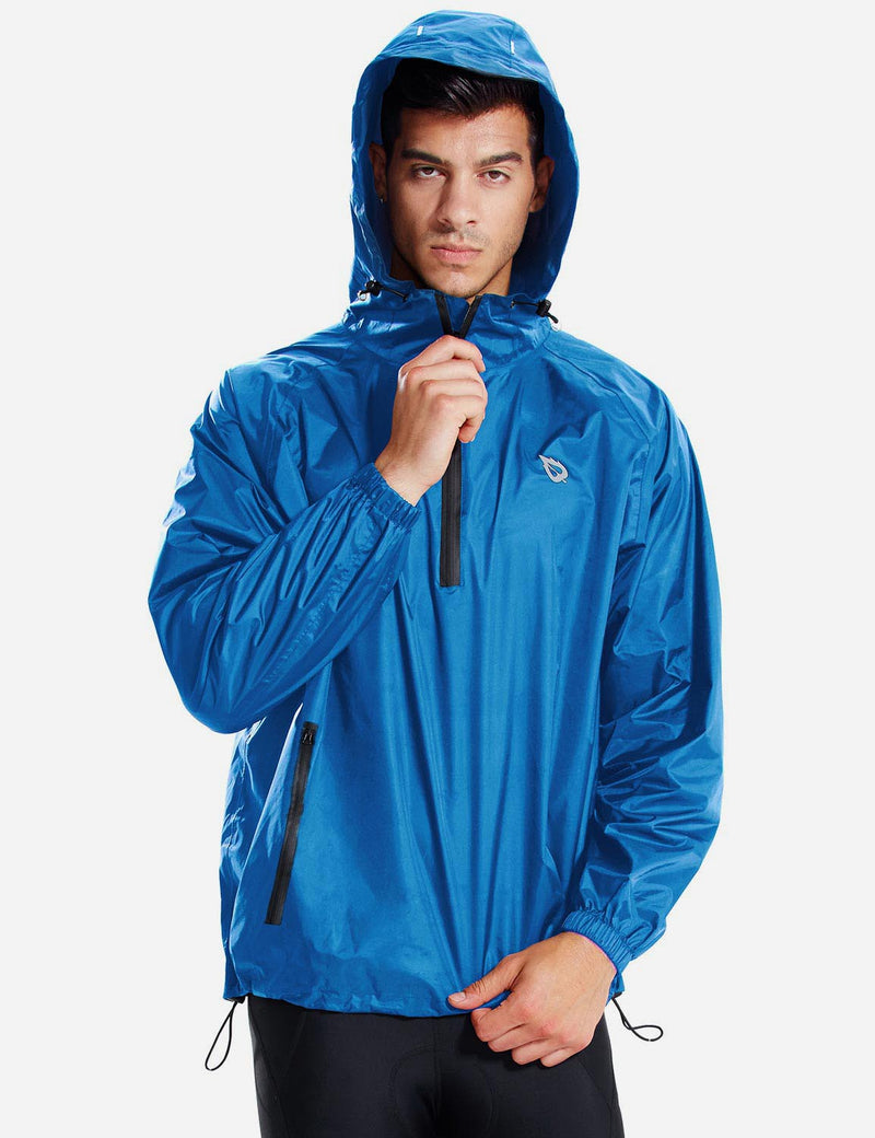 Baleaf Men Lightweight Packable Hooded Raincoat blue front
