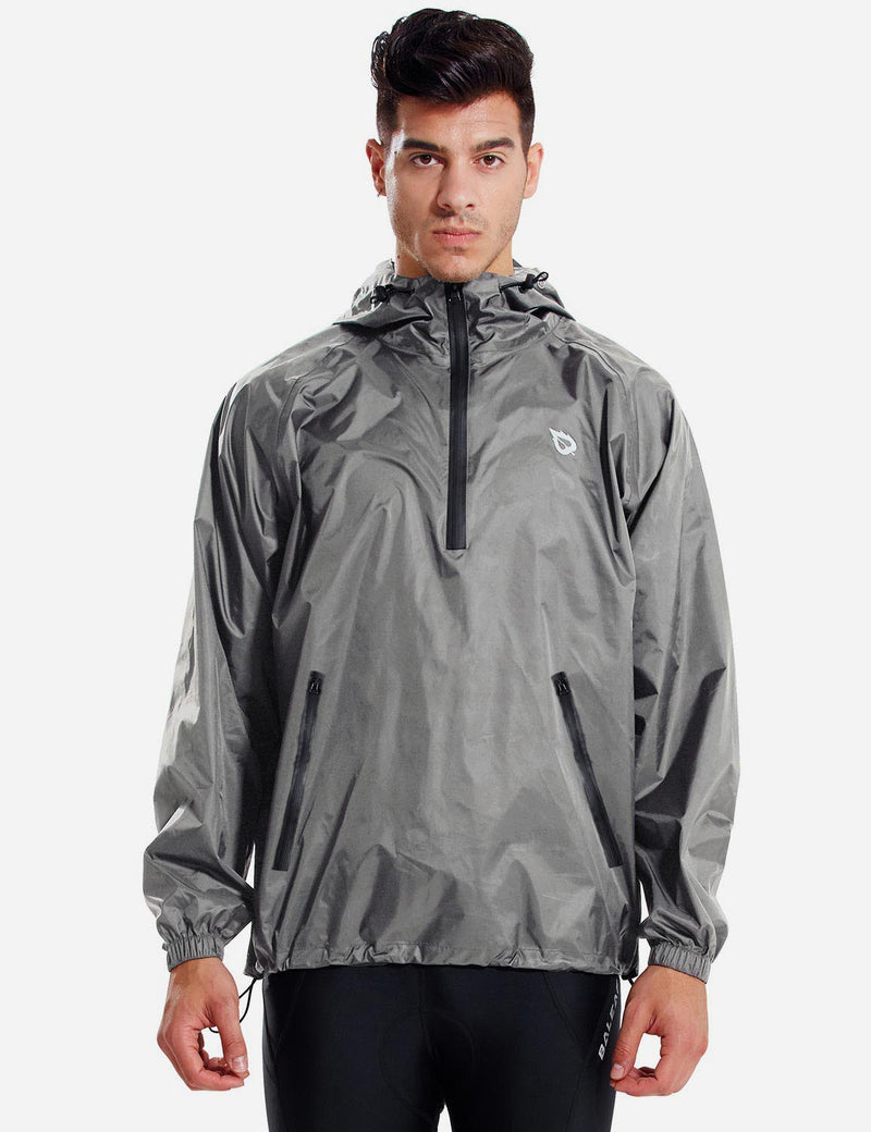 Baleaf Men Lightweight Packable Hooded Raincoat grey front