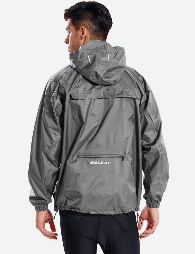 Baleaf Men Lightweight Packable Hooded Raincoat grey back