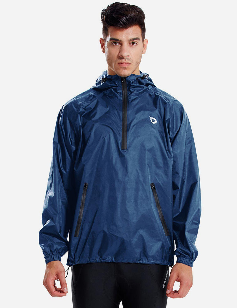 Baleaf Men Lightweight Packable Hooded Raincoat navy front