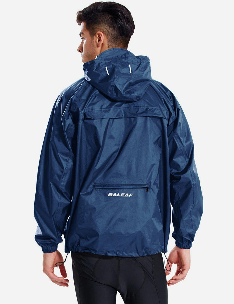 Baleaf Men Lightweight Packable Hooded Raincoat navy back