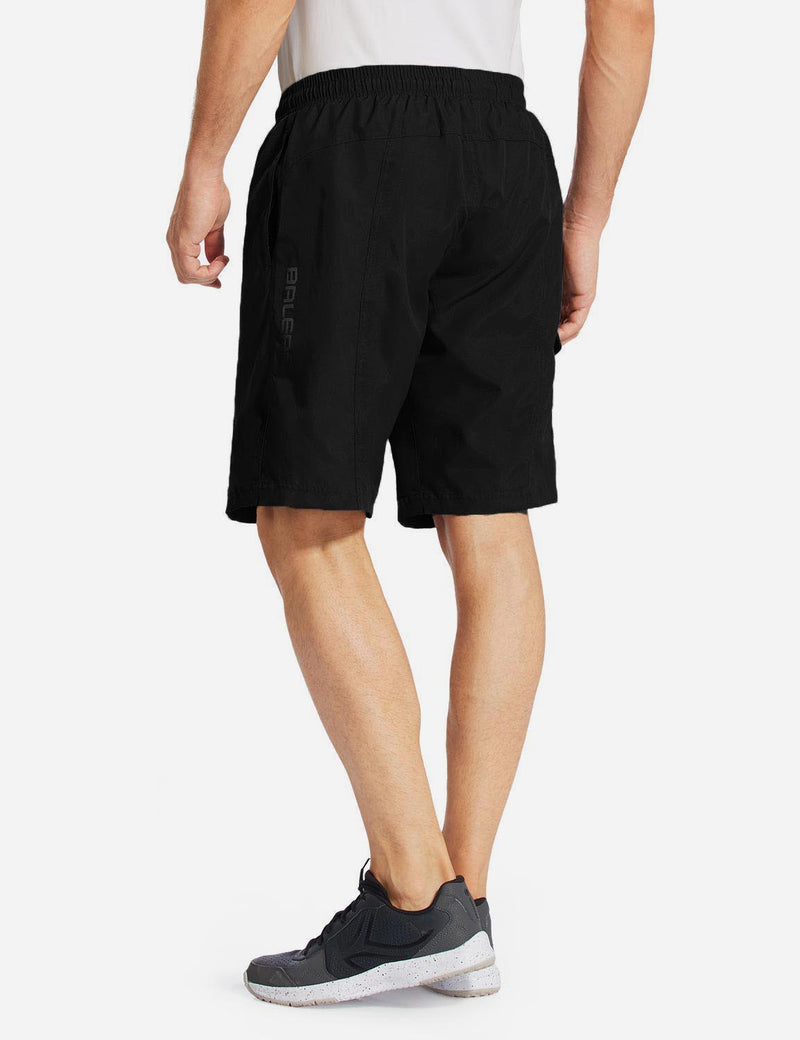 Baleaf Men Basic Zipper Pocketed Bike Shorts black back