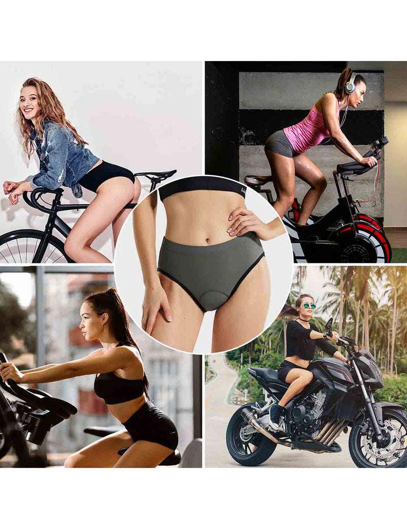 Baleaf Womens 3D Chamois Padded Female Ergonomic Cycling Underwear Gray occasions