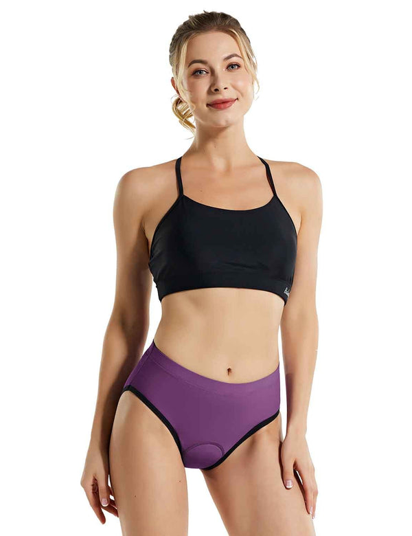 Baleaf Womens 3D Chamois Padded Female Ergonomic Cycling Underwear Purple Front