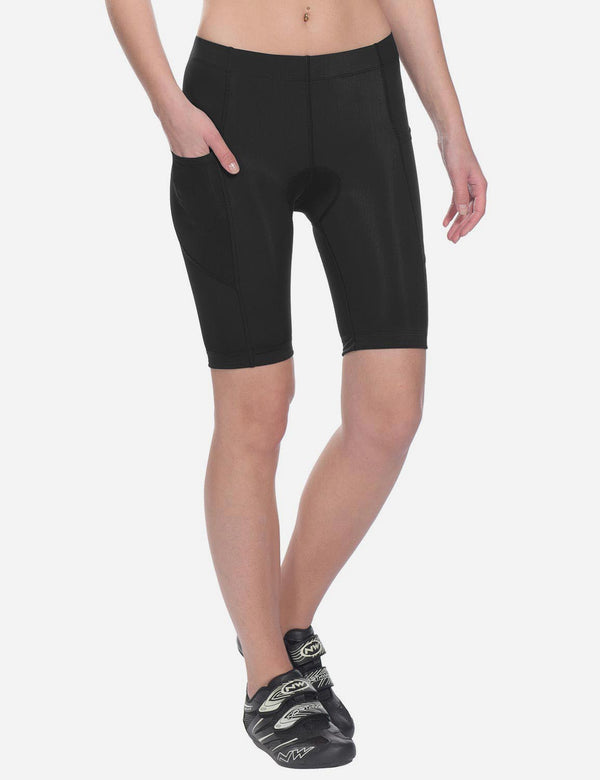 Baleaf womens UPF 50+ Side Pocketed Cycling Shorts Black Front