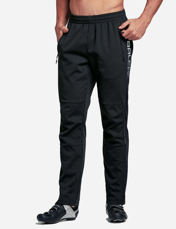 Baleaf Men's Thermal Fleece-Lined Windproof Pocketed Sweat Pants Black Front