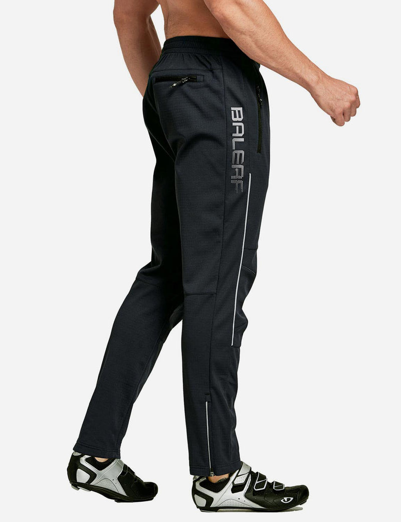 Baleaf Men's Thermal Fleece-Lined Windproof Pocketed Sweat Pants Black Side