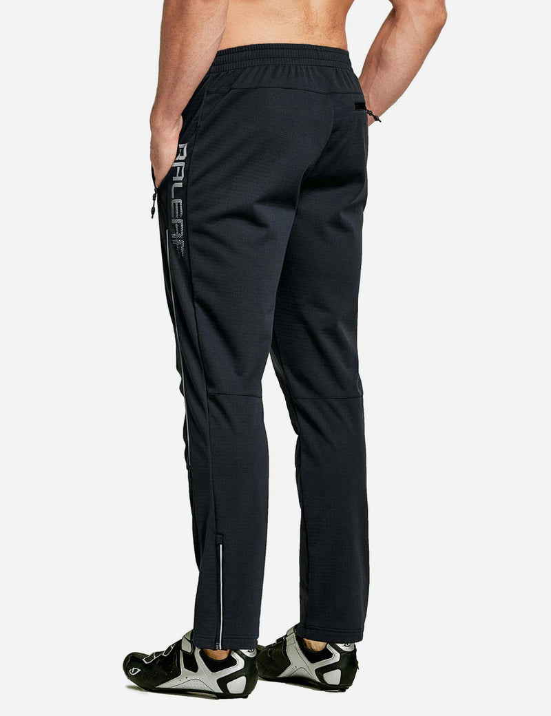 Baleaf Men's Thermal Fleece-Lined Windproof Pocketed Sweat Pants Black Back