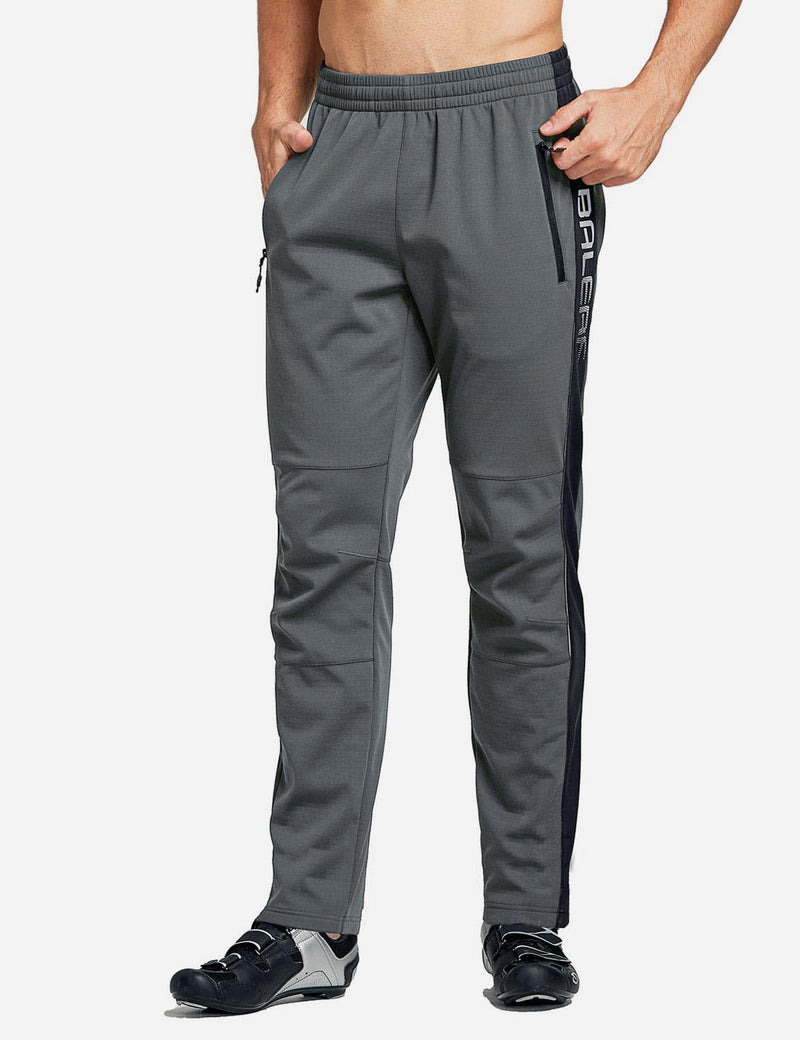 Baleaf Men's Thermal Fleece-Lined Windproof Pocketed Sweat Pants Gray Front