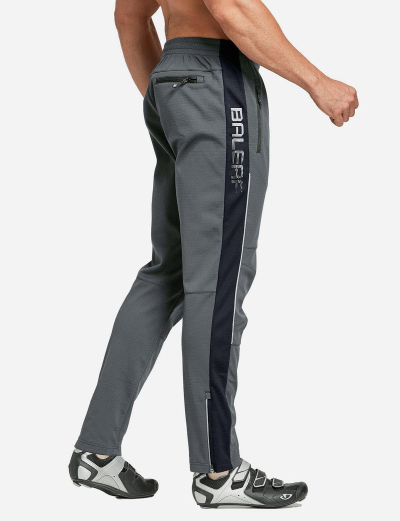 Baleaf Men's Thermal Fleece-Lined Windproof Pocketed Sweat Pants Gray Side