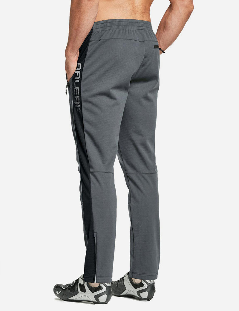 Baleaf Men's Thermal Fleece-Lined Windproof Pocketed Sweat Pants Gray Back