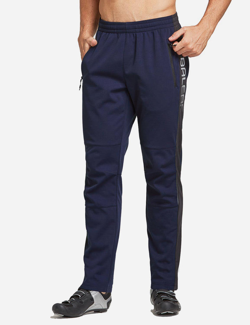 Baleaf Men's Thermal Fleece-Lined Windproof Pocketed Sweat Pants Blue Front