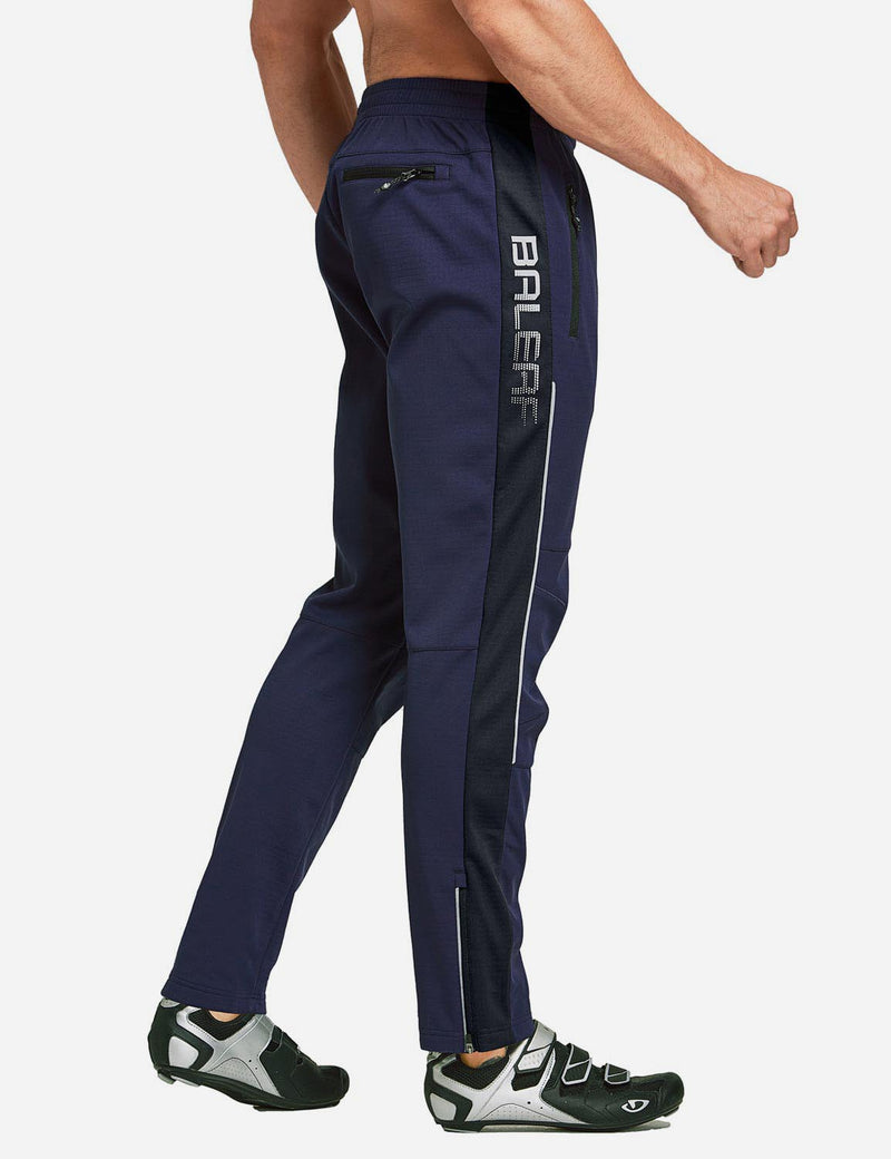 Baleaf Men's Thermal Fleece-Lined Windproof Pocketed Sweat Pants Blue Side