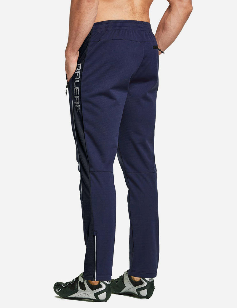 Baleaf Men's Thermal Fleece-Lined Windproof Pocketed Sweat Pants Blue Back